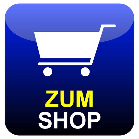 Shiny modern isolated blue black button: To the shop with trolley symbol