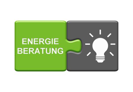 Isolated Puzzle Button with two pieces showing Energy Consulting with light bulb symbol in german language Stockfoto
