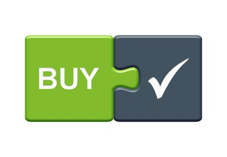 Isolated Puzzle Button with two pieces showing Buy with tick symbol Stock Photo