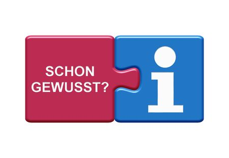 Isolated Puzzle Button with two pieces showing Did You Know? with info symbol in german language
