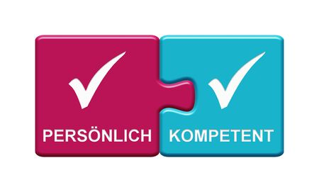 Isolated Puzzle Button with two pieces showing Personally and Competent with tick symbol in german language Stockfoto