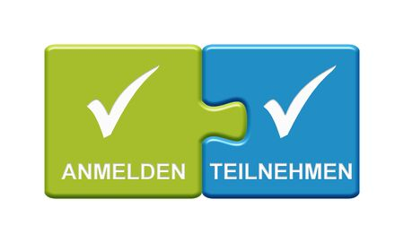 Isolated Puzzle Button with two pieces showing Sign In and take Part with tick symbol in german language Stock Photo