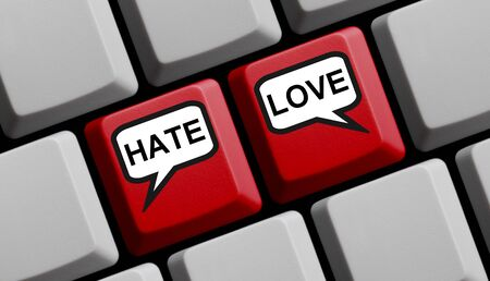 Hate or Love Online - Red computer keyboard with speech bubbles