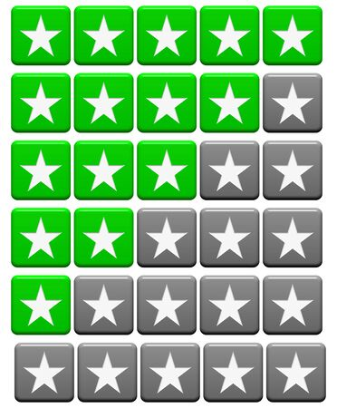 - 5 Rating stars with green and grey color for feedback evaluation