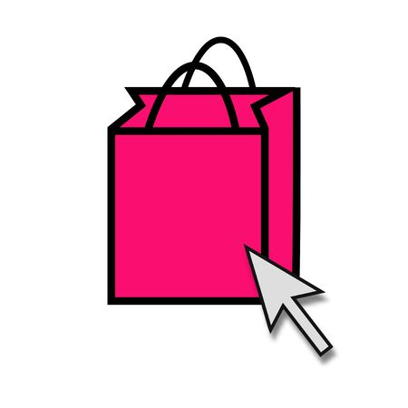 Isolated pink Shopping Bag Icon with Mouse arrow Stockfoto - 128006672