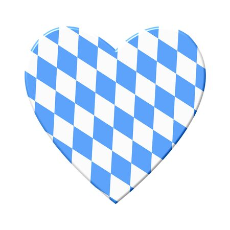 Heart icon with bavarian blue and white checkeres texture