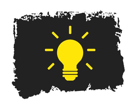 Light Bulb Icon - Symbol on isolated black hand painted grunge texture
