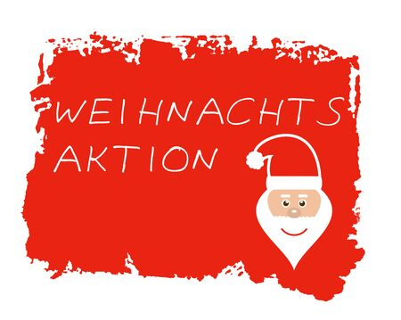 Christmas special in german language - Santa Symbol on isolated red hand painted grunge texture