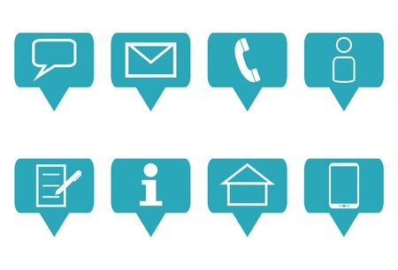 Collection of 8 blue business icons for website