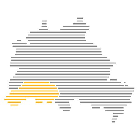 Steglitz-Zehlendorf - Grey orange striped map of Berlin with orange district