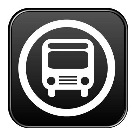 Shiny isolated black Button: Bus symbol