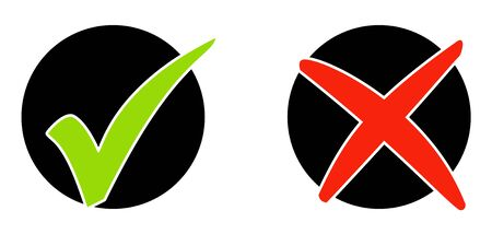Symbols in black circle: Accept and Decline