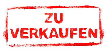For Sale Banner: Red rubber stamp frame with stencil text in german language Фото со стока
