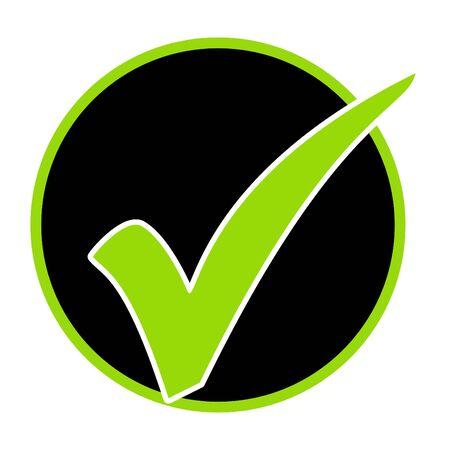 Green tick symbol in black circle - Icon for check