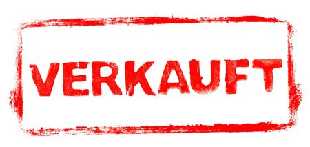 Sold Banner: Red rubber stamp frame with stencil text in german language