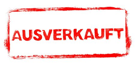 Sold Out Banner: Red rubber stamp frame with stencil text in german language Фото со стока