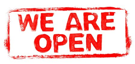 We Are Open Banner: Red rubber stamp frame with stencil text