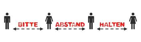 Illustration of people with text and arrows: Please keep your distance in german language