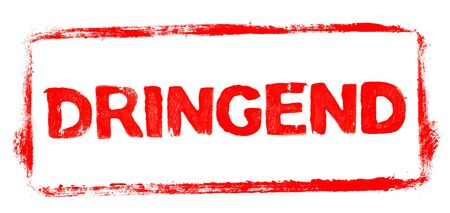 Urgent Banner: Red rubber stamp frame with stencil text in german language