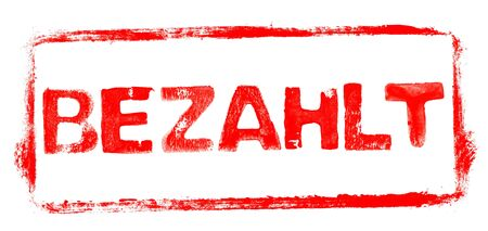 Paid Banner: Red rubber stamp frame with stencil text in german language