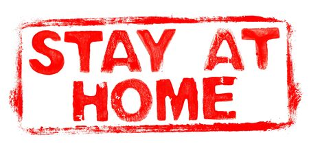 Stay at Home: Red rubber stamp frame Banner with stencil text