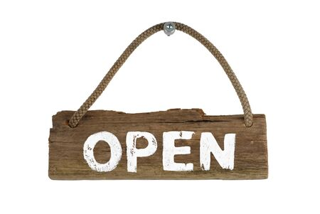 Old isolated wooden sign showing Open with rope hanging on screw