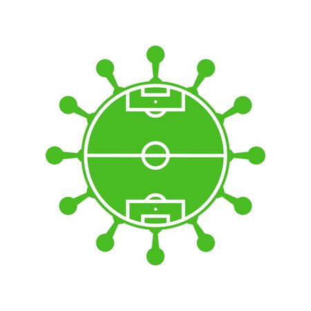 Coronavirus Symbol and Football Field - Icon for soccer in times of Covid-19 Stock fotó