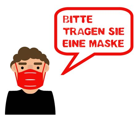 Man with Coronavirus Mask for protection says: Please wear a Mask in german language