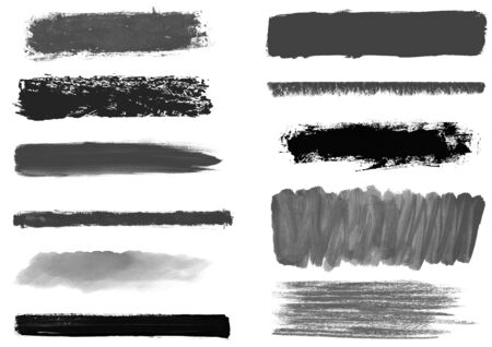 Collection of black and grey hand painted stripes made with brush and pencil