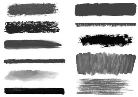 Collection de rayures noires et grises peintes à la main au pinceau et au crayon