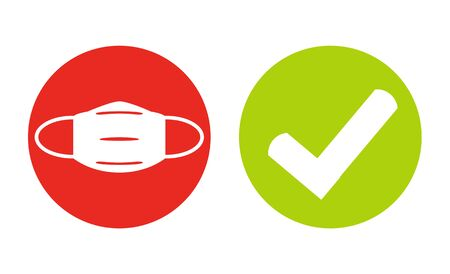 Mask for Coronavirus Protection and Tick Symbol in red and green circles