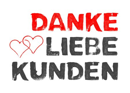 Hand painted heart with stencil text showing Thank You Customers in german language