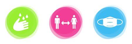 Coronavirus-Regeln auf 3 bunten Knöpfen: Hände waschen, Abstand halten und eine Maske tragen Standard-Bild