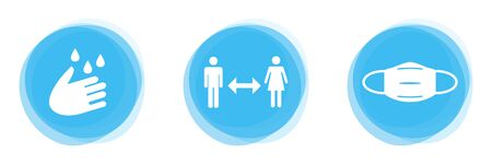 Tips for Covid-19 Protection: Hand with Soap, Distance between two Persons and Face Mask Banque d'images