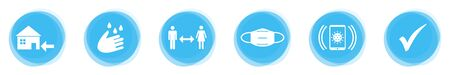 Coronavirus Protection: Stay at Home, Wash and Disinfect your Hands, Keep your Distance, Wear a Mask, Use App and Check Mark