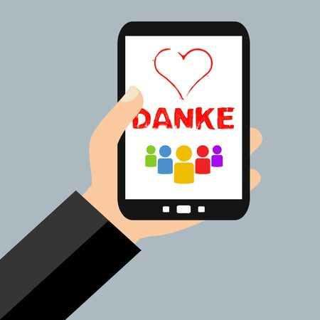 Hand with Smartphone:  Thank you customers, supporters or employees for support, work and help