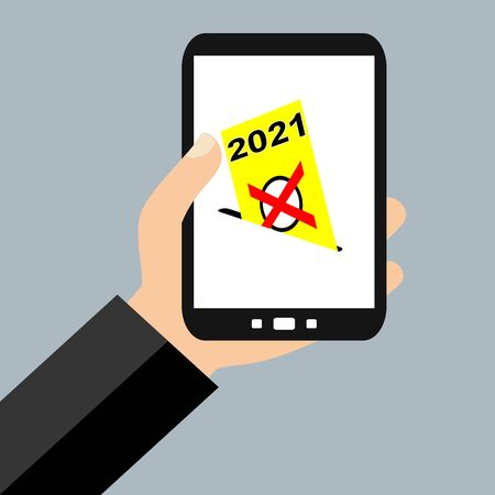 Hand with Smartphone: Digital Election in 2021 - Flat Design