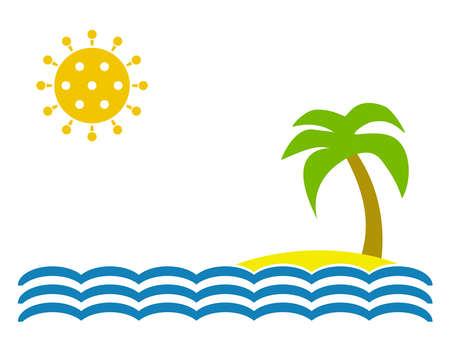 Tourism with coronavirus - Island with water and virus symbol