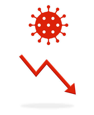 Red arrow showing down with coronavirus icon