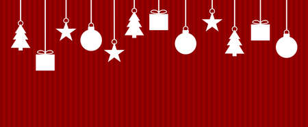 Template for christmas card with red stripes and white decoration