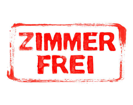 Red grunge banner with stencil frame showing: Room available in german language Stock Photo