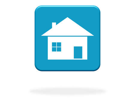 House Icon on blue Button - Real Estate or Home