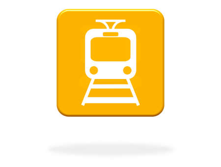 Train Icon on orange Button - Public Transport or Train station
