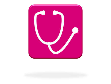 Stethoscope Icon on pink Button - Doctor, Hospital or Medical Check Stock fotó