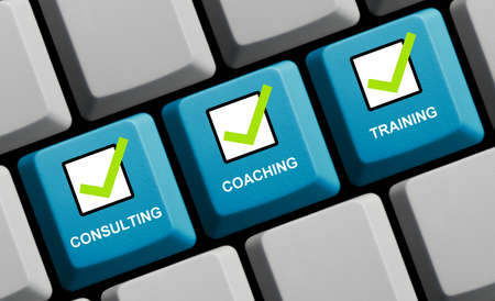 Business Concept: Consulting, Coaching, Training with ticks on blue computer keyboard 3d illustration