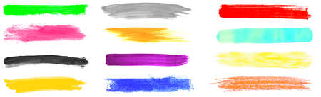 Collection of 12 isolated hand painted brush and pencil stripes with many colors