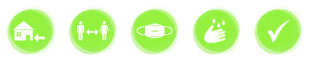 Please remember most important rules for Coronavirus Protection on green Button Banner Stockfoto