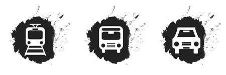 3 black graffiti blobs with icons of public transport: train, subway, bus or car and taxi