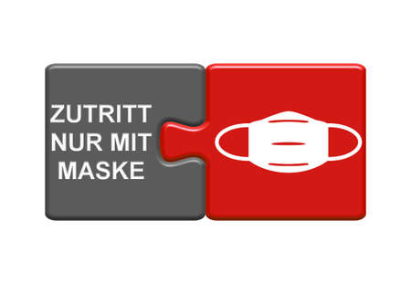 Gray and red Puzzle Buttons showing Access only with face mask in german language - 3D Illustration 版權商用圖片