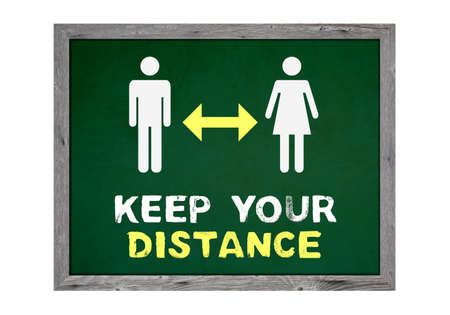 Keep your distance - Isolated Chalkboard with two people and yellow arrow icon